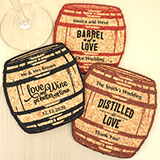 Personalized Oak Barrel Cork Coaster