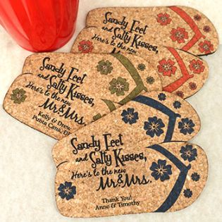 Personalized Flip Flops Cork Coaster