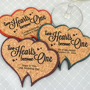 Personalized Double Heart Cork Coaster