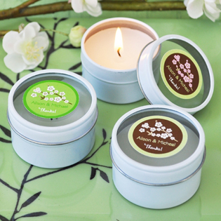 Cherry Blossom Personalized Round Travel Candle Tins