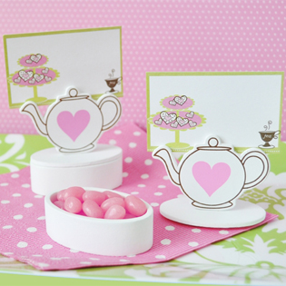 Teapot Place Card Favor Boxes with Designer Place Cards