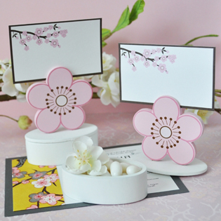 Cherry Blossom Place Card Favor Boxes with Designer Place Cards