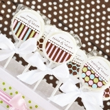 Something Sweet Dots and Stripes Personalized Lollipop Favors