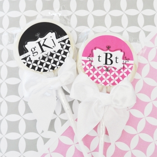 Monogram Lollipop Favors
