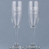 Heart Themed Toasting Flutes (Set of Two)